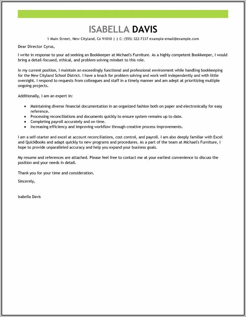 Resume And Cover Letter As One Document