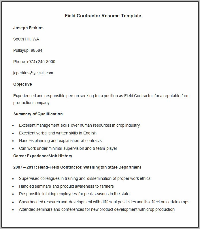Resume Format For Experienced Person Free Download