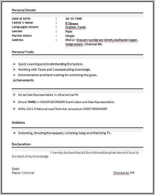 Resume Format For Freshers Free Download Doc