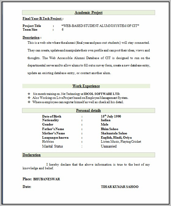 Resume Format For Freshers Free Download Latest Doc