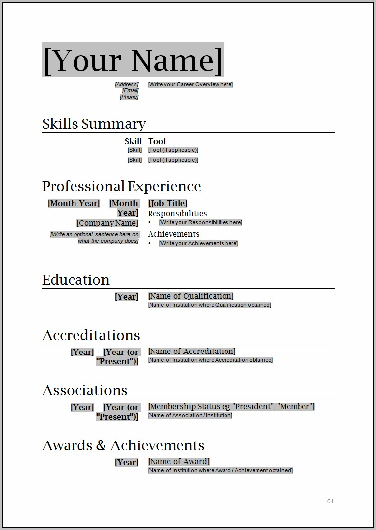 Resume Format Free Download 2015
