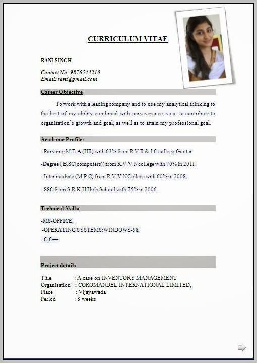 Resume Format Free Download In Pdf