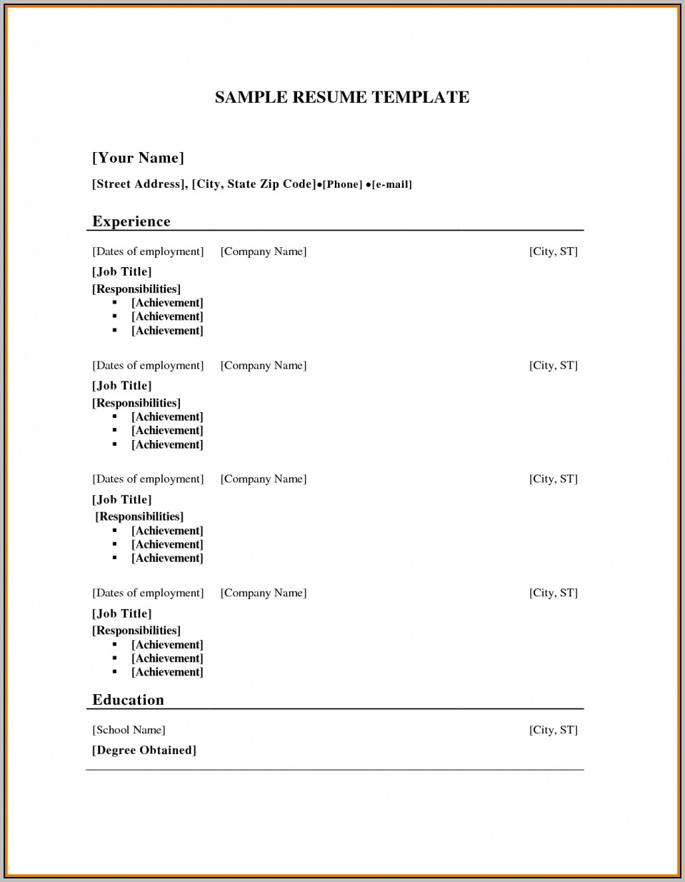 Job Resume Sample Free Templates For Resumes Wordpad Resume With Free Resume Template Download