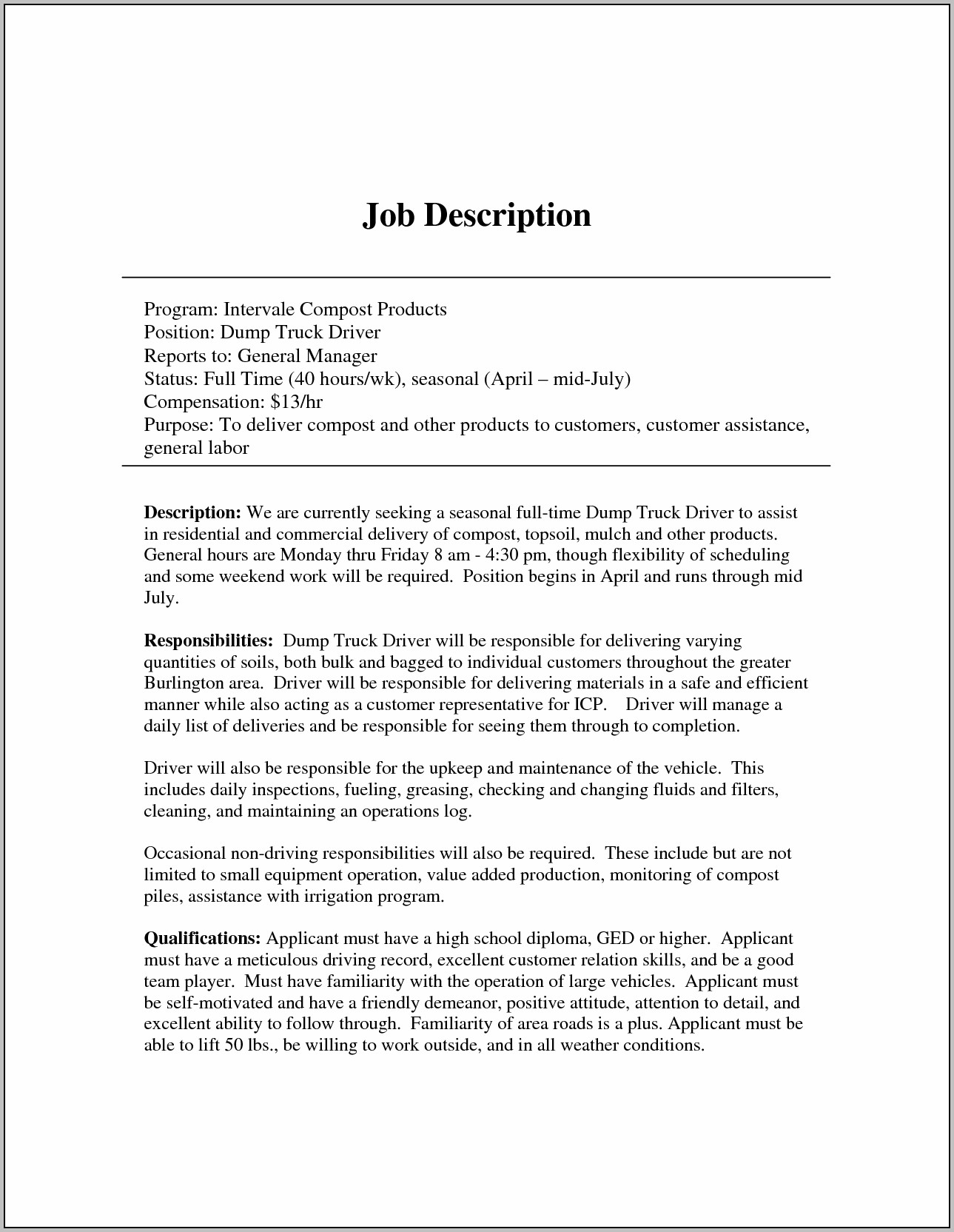 Resume Samples For Tow Truck Driver