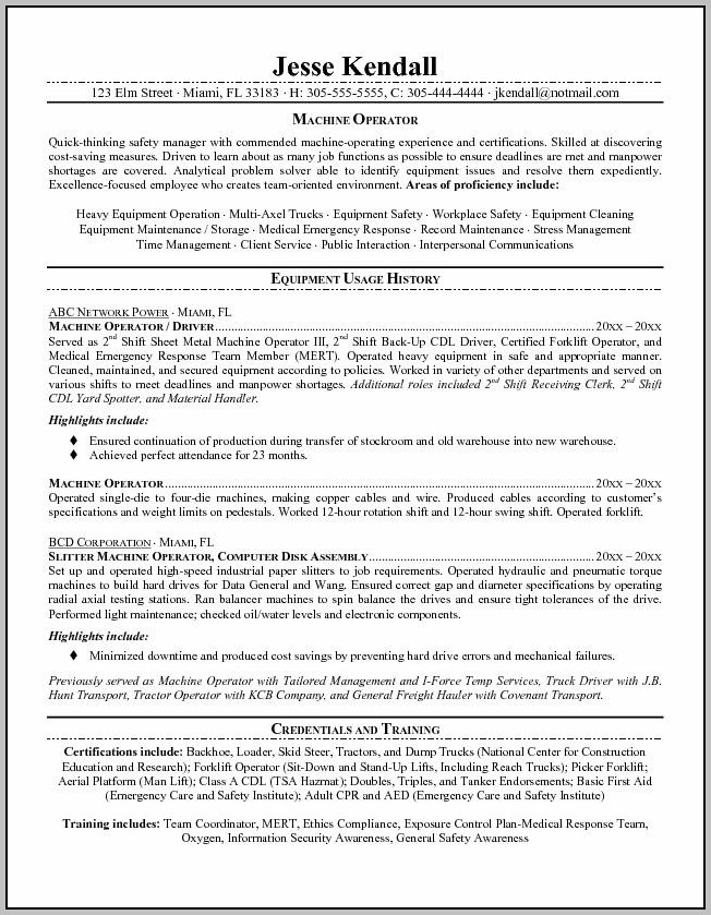 Resume Summary Examples For Truck Drivers