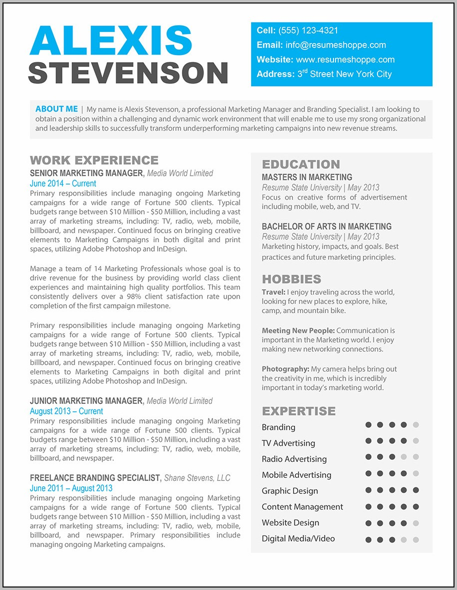 Resume Template Free Download Mac