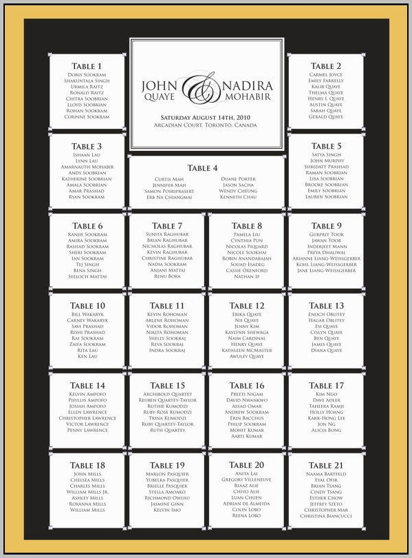 Round Wedding Seating Chart Template