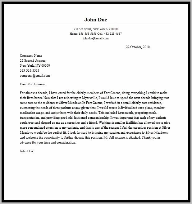 Sample Cover Letter For A Caregiver Position