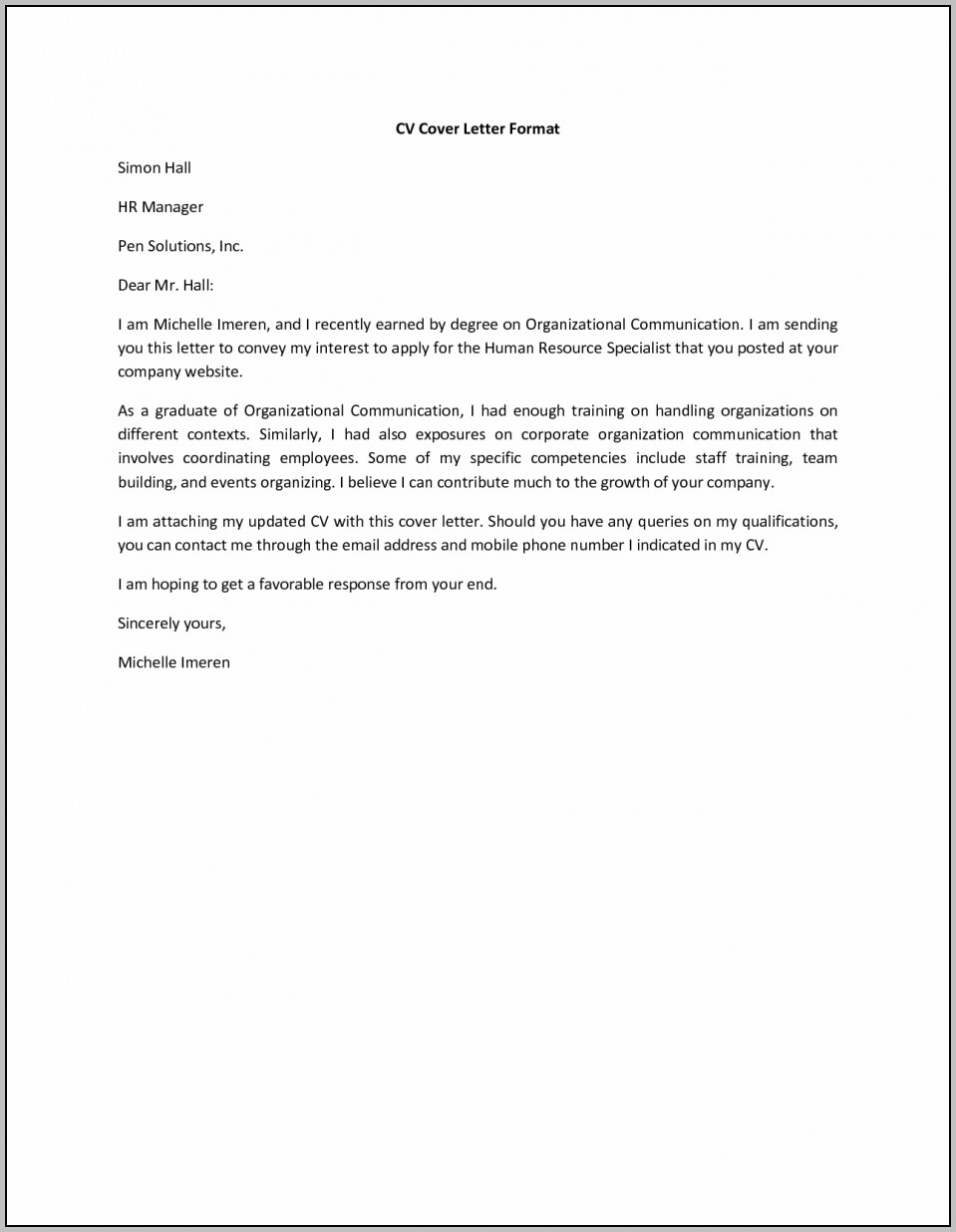 Sample Cover Letter For Attached Resume