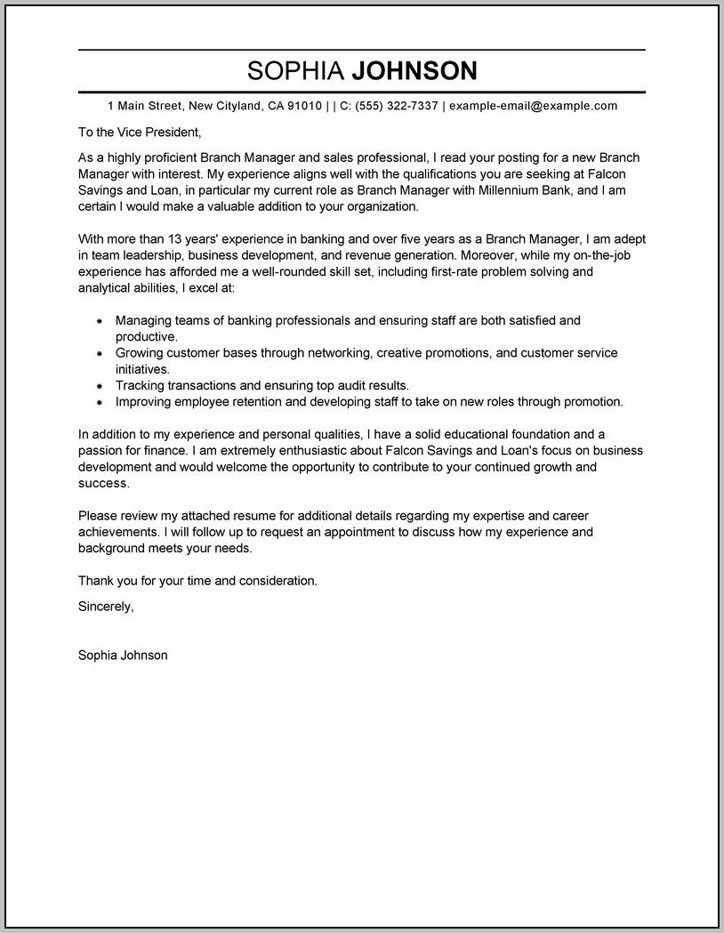 Sample Cover Letter For Finance Director Position