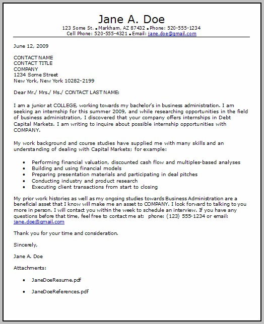 Sample Cover Letter For Finance Internship Position