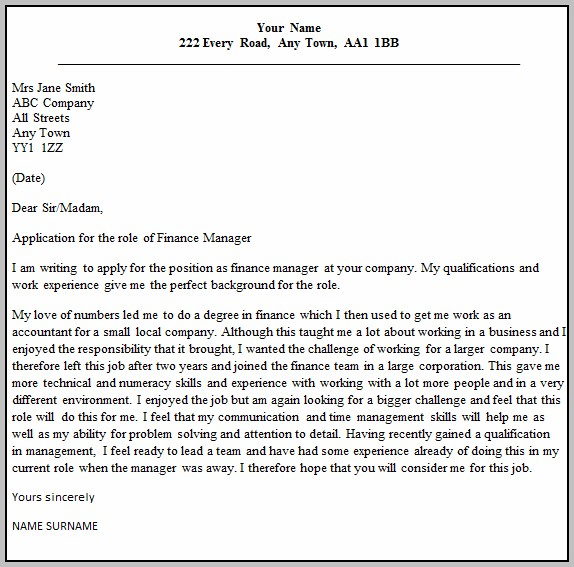 Sample Cover Letter For Finance Manager Job