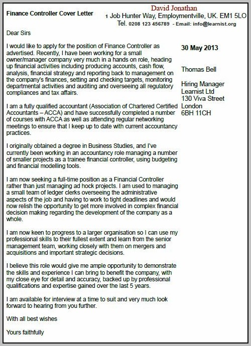Sample Cover Letter For Financial Controller Position