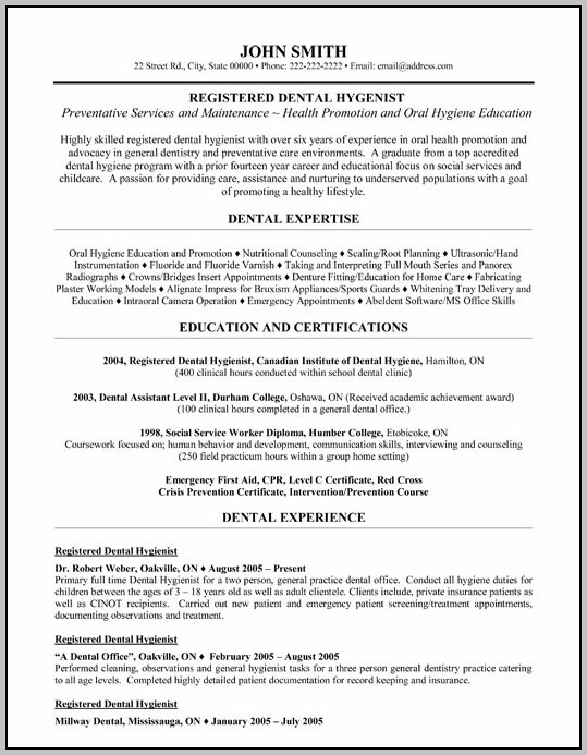 Sample Cover Letter For Resume Dental Hygienist