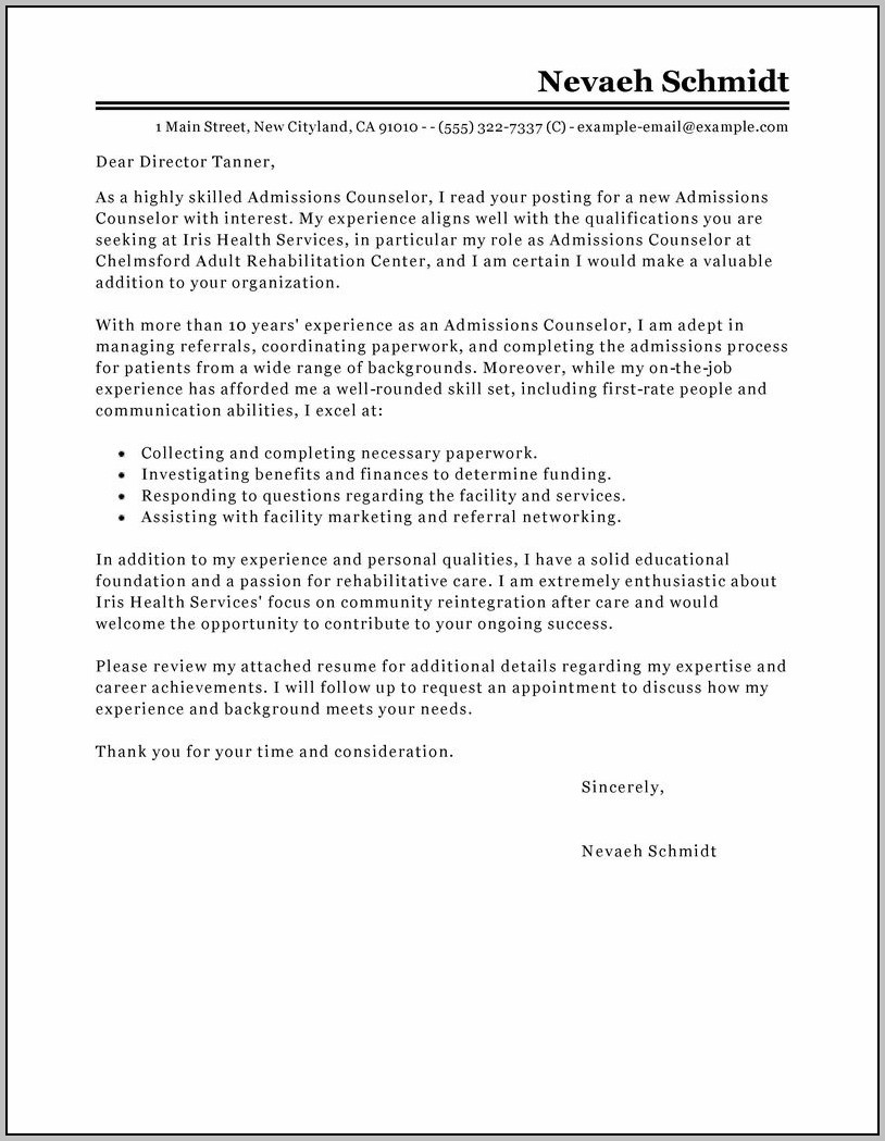 Sample Cover Letter For Resume In Canada