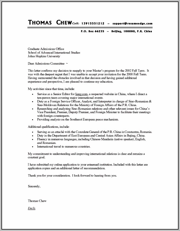 Sample Cover Letter For Resume It