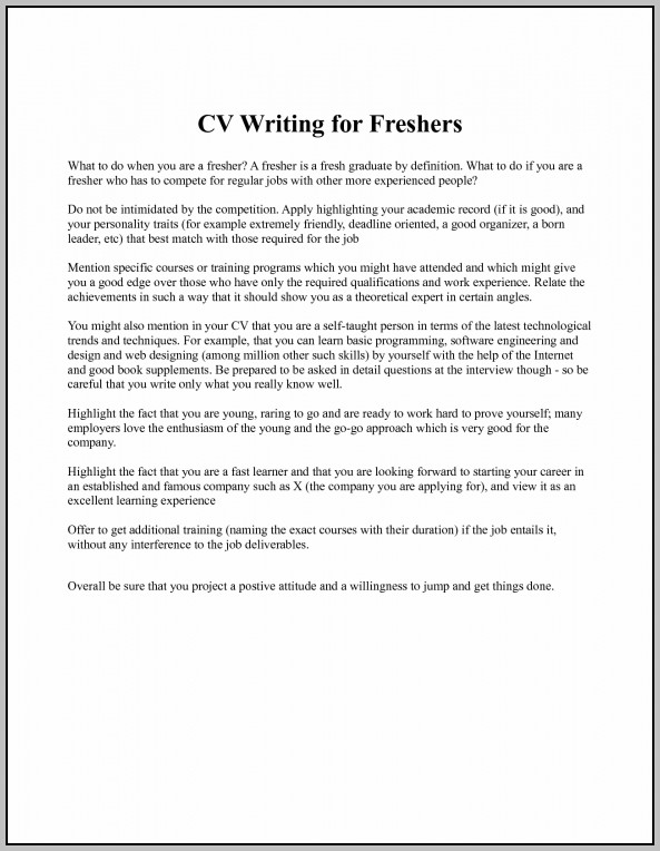 Sample Cover Letter For Resume Of A Fresher Cover Letter
