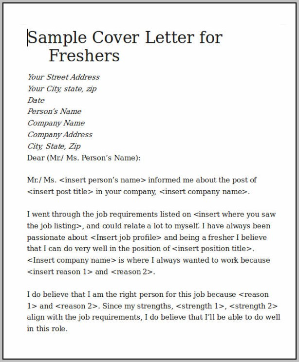 Sample Cover Letter For Resume Software Engineer Fresher