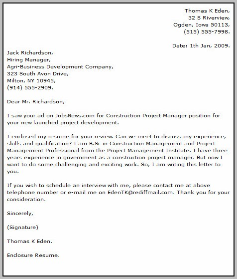Sample Cv Cover Letter Project Manager