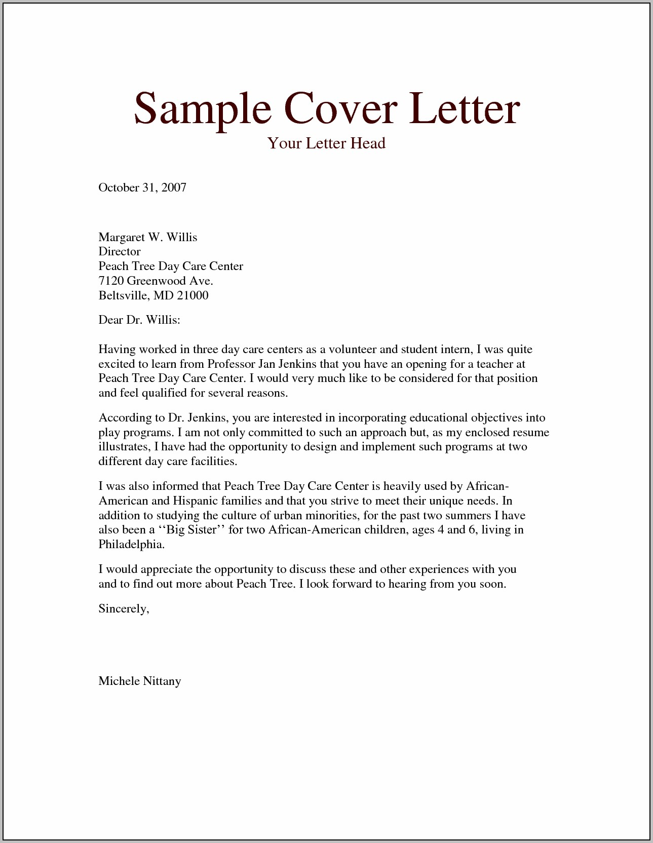 Sample Ministry Resume And Cover Letter