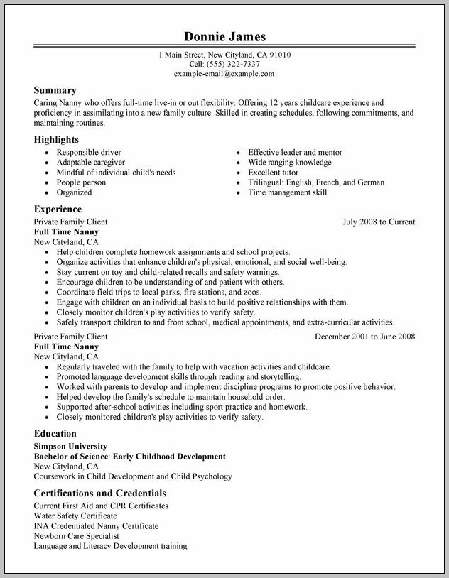 Sample Of Cover Letter For Caregiver Nanny