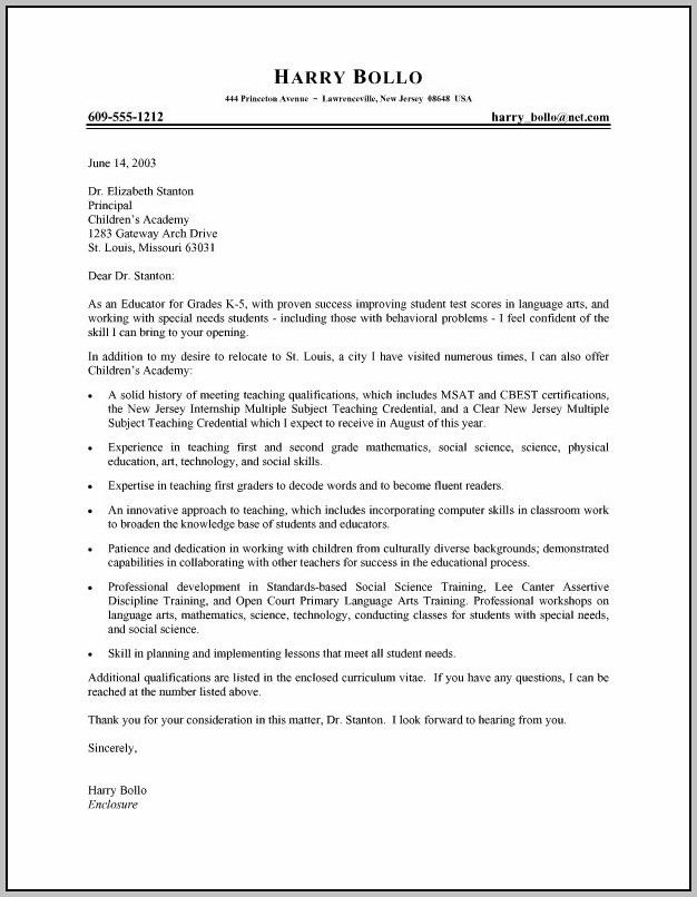 Sample Resume And Cover Letter For Teachers
