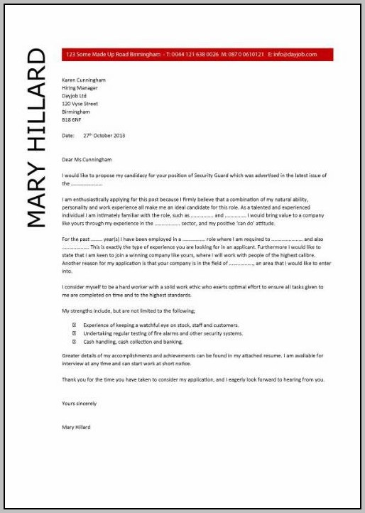 Sample Resume Cover Letter For Security Guard