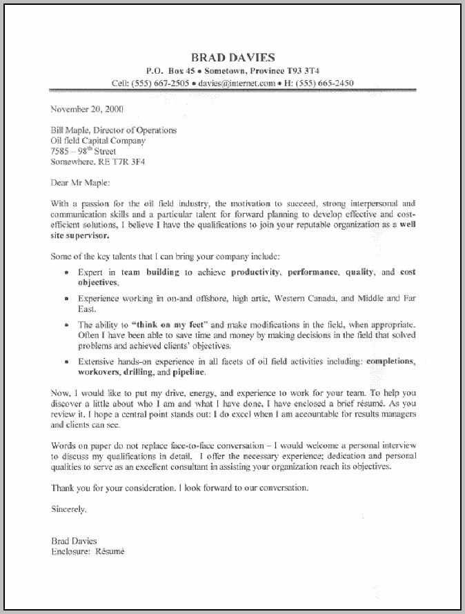 Sample Resume Cover Letter For Supervisor Position