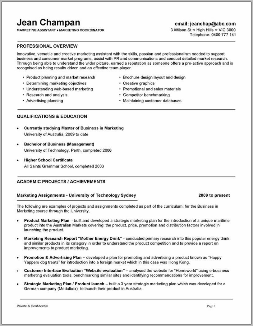 Sample Resume Cover Letter Marketing Assistant