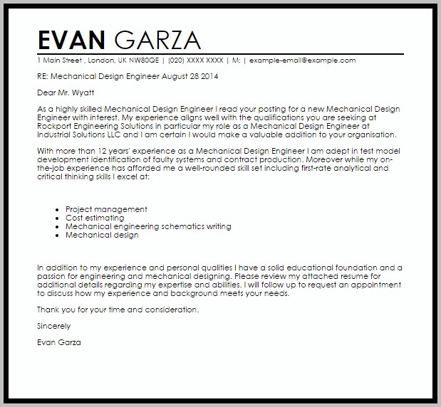 Sample Resume Cover Letter Mechanical Engineer