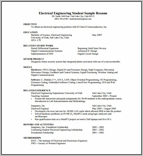 Sample Resume For Experienced Mechanical Engineer Free Download Pdf