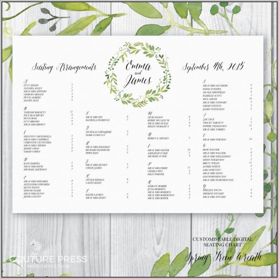 Wedding Guest Seating Chart Template Free