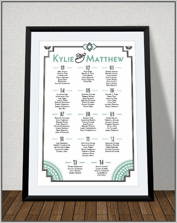 Wedding Reception Alphabetical Seating Chart Template