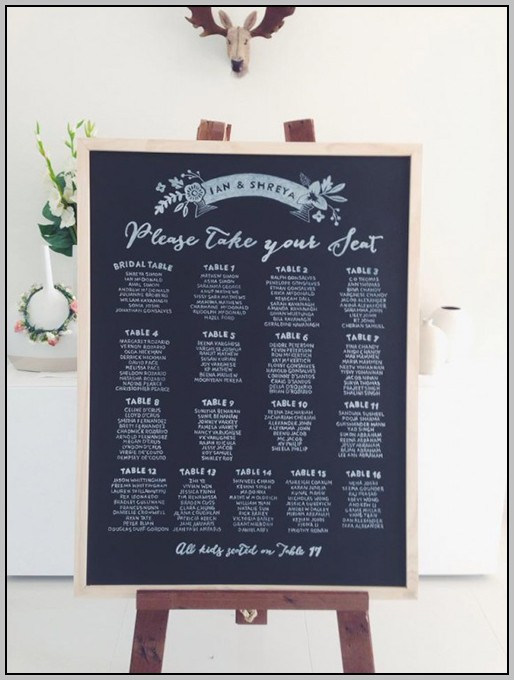 Wedding Reception Seating Chart Board Template