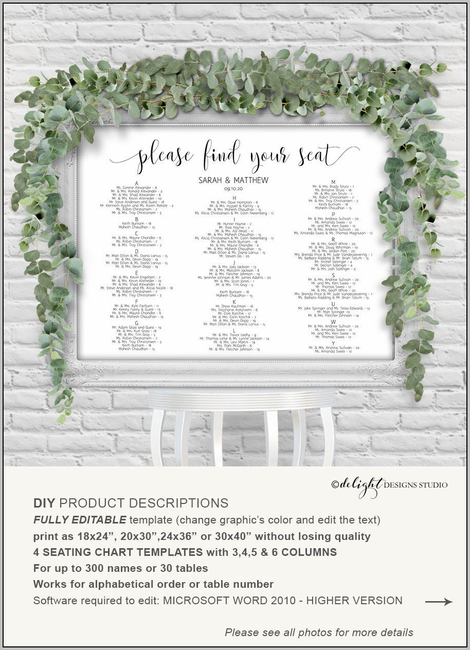 Wedding Reception Seating Chart Template From Microsoft