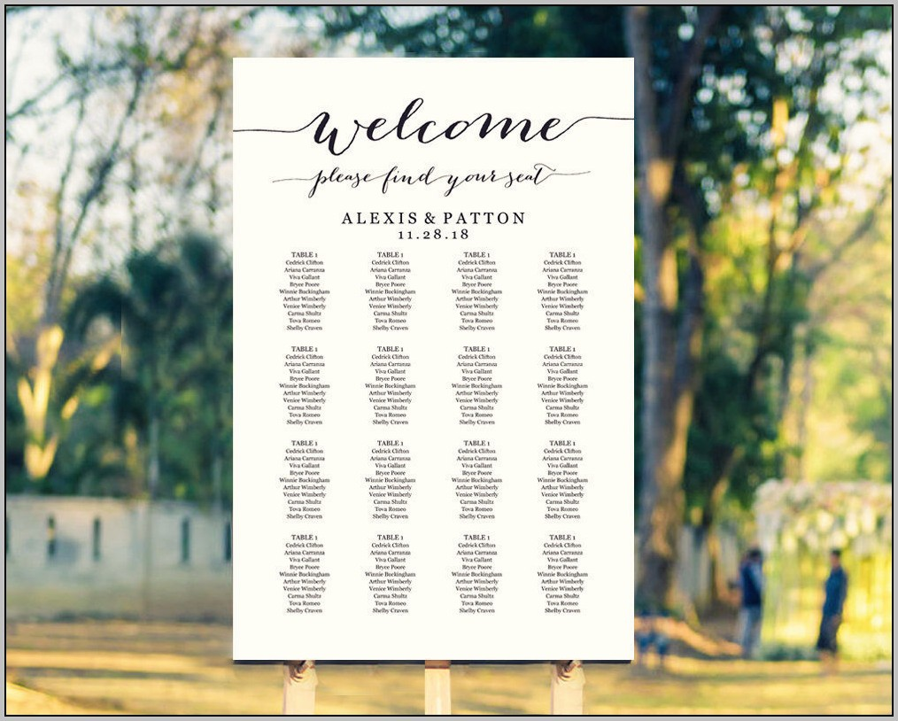 Wedding Reception Table Seating Chart Template