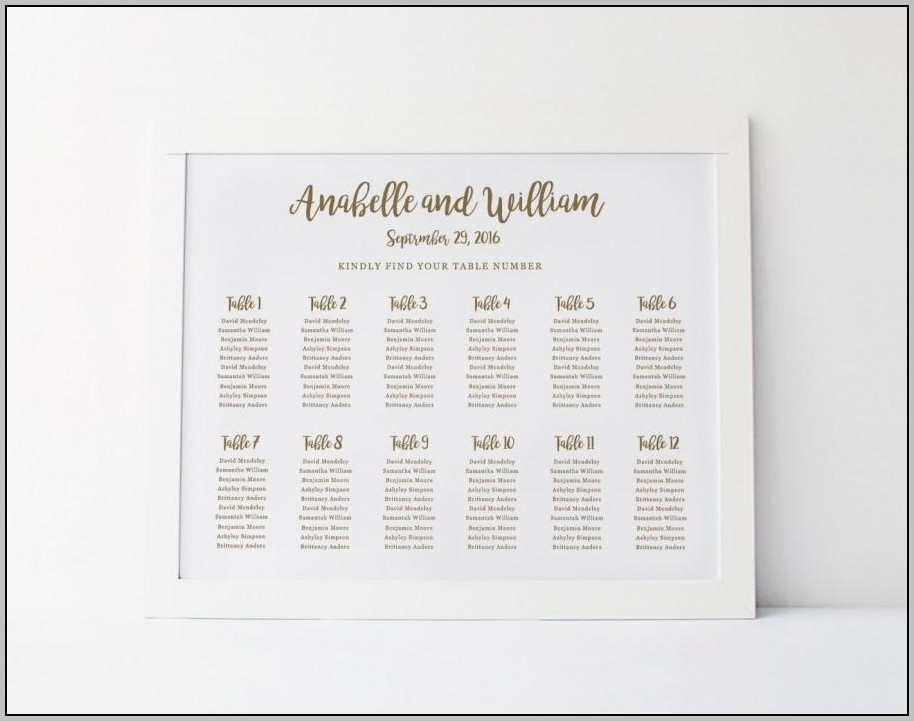 Wedding Seating Chart Poster Template Word