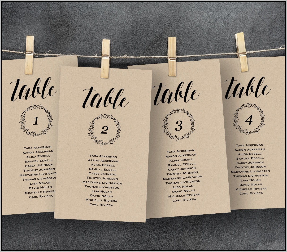 Wedding Seating Chart Template 20 Tables