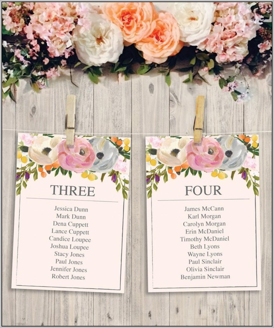 Wedding Seating Chart Template Diy
