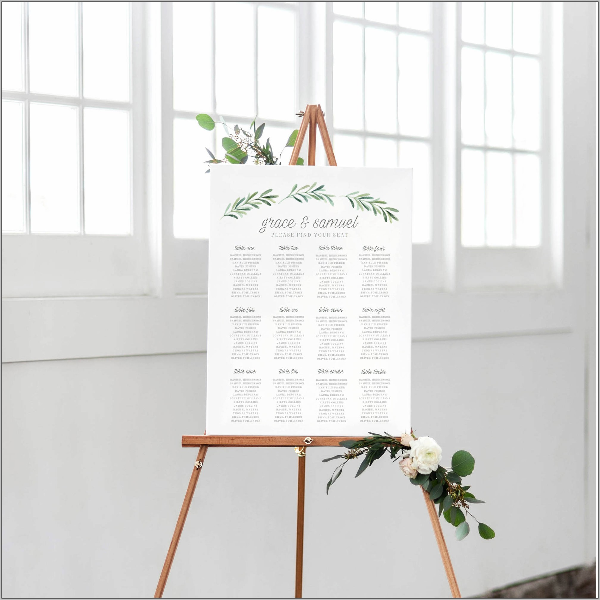 Wedding Seating Chart Template For Word