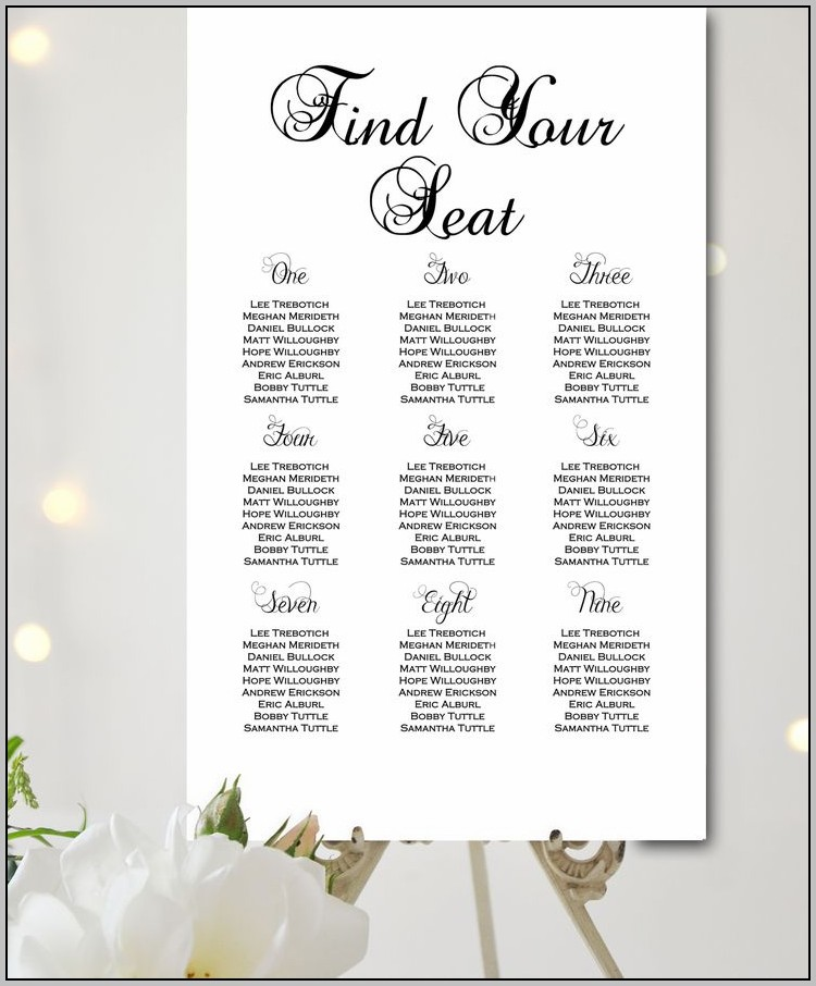 Wedding Seating Chart Template Mac