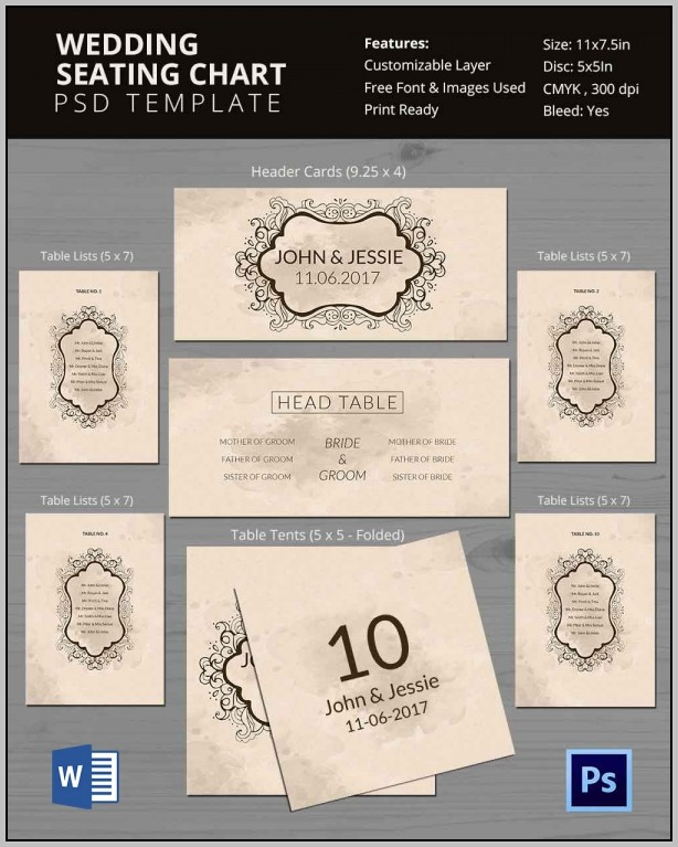 Wedding Seating Chart Template Photoshop