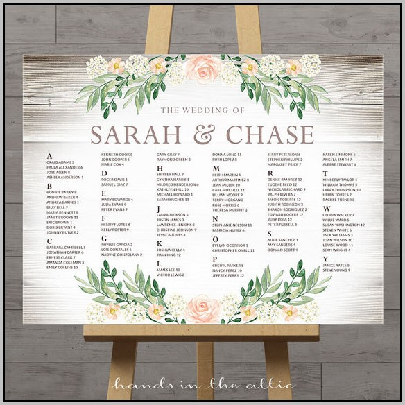 Wedding Seating Chart Template Publisher