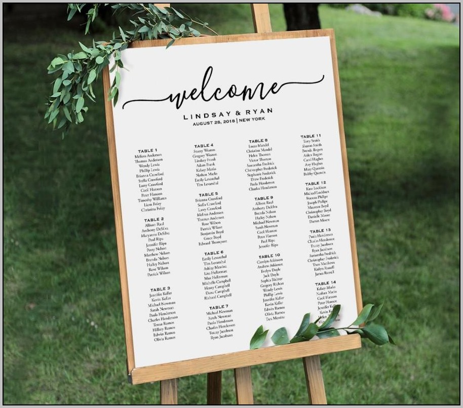 Wedding Seating Plan Editable Template