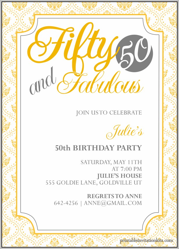 50th Birthday Party Invitation Template Free