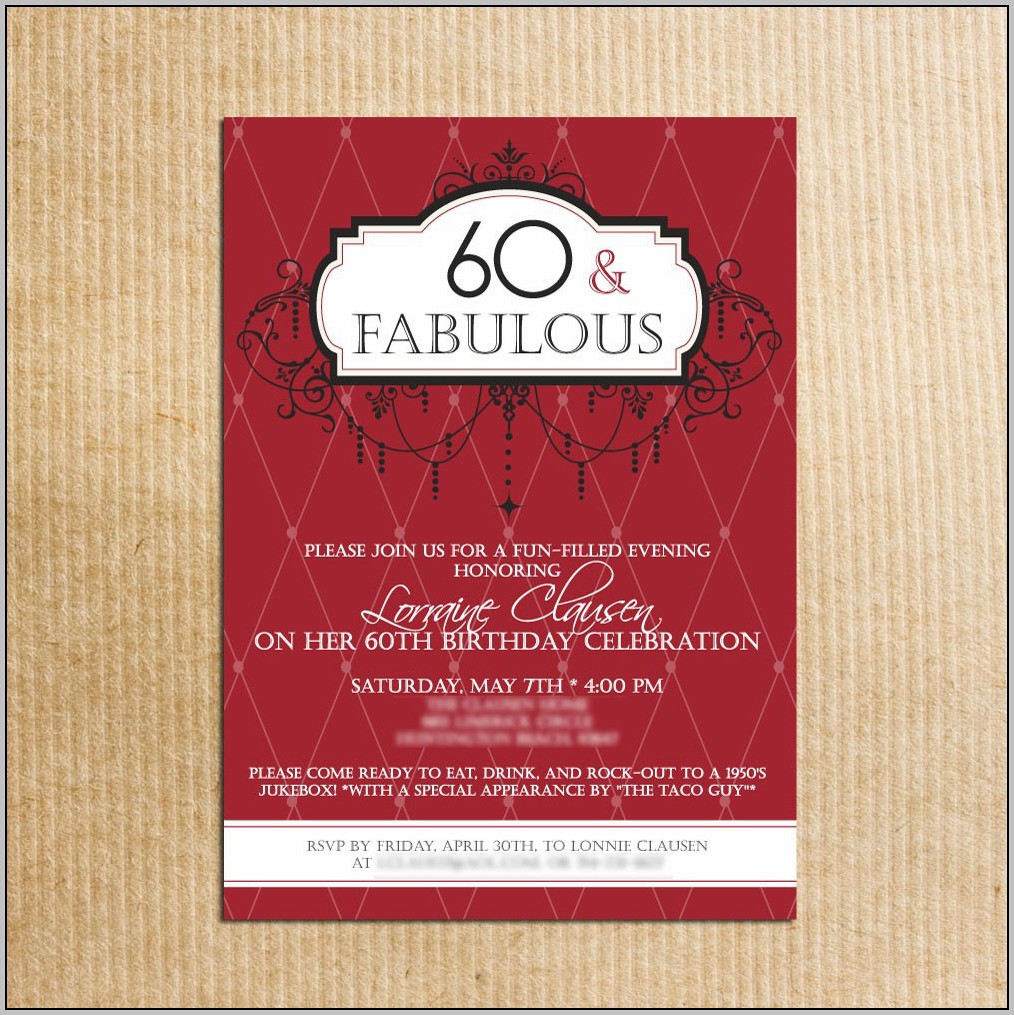 60th Birthday Party Invitation Template Free