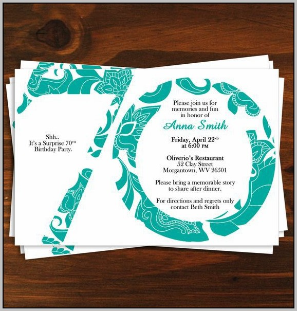70th Birthday Party Invitation Template