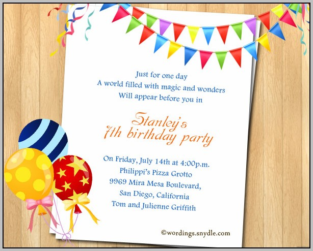 7th Birthday Party Invitation Templates