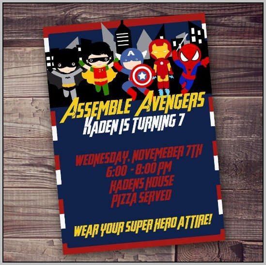 Avengers Birthday Party Invitation Template