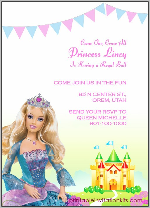Barbie Birthday Party Invitation Template